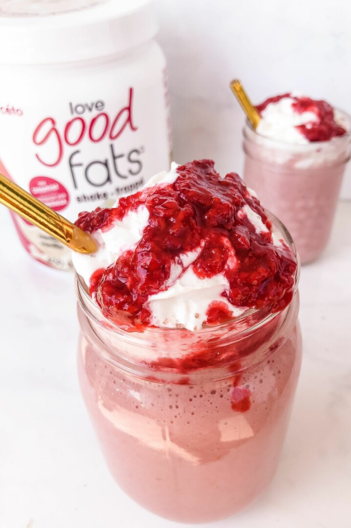 Keto Raspberries and Cream Smoothie (with whipped cream!)