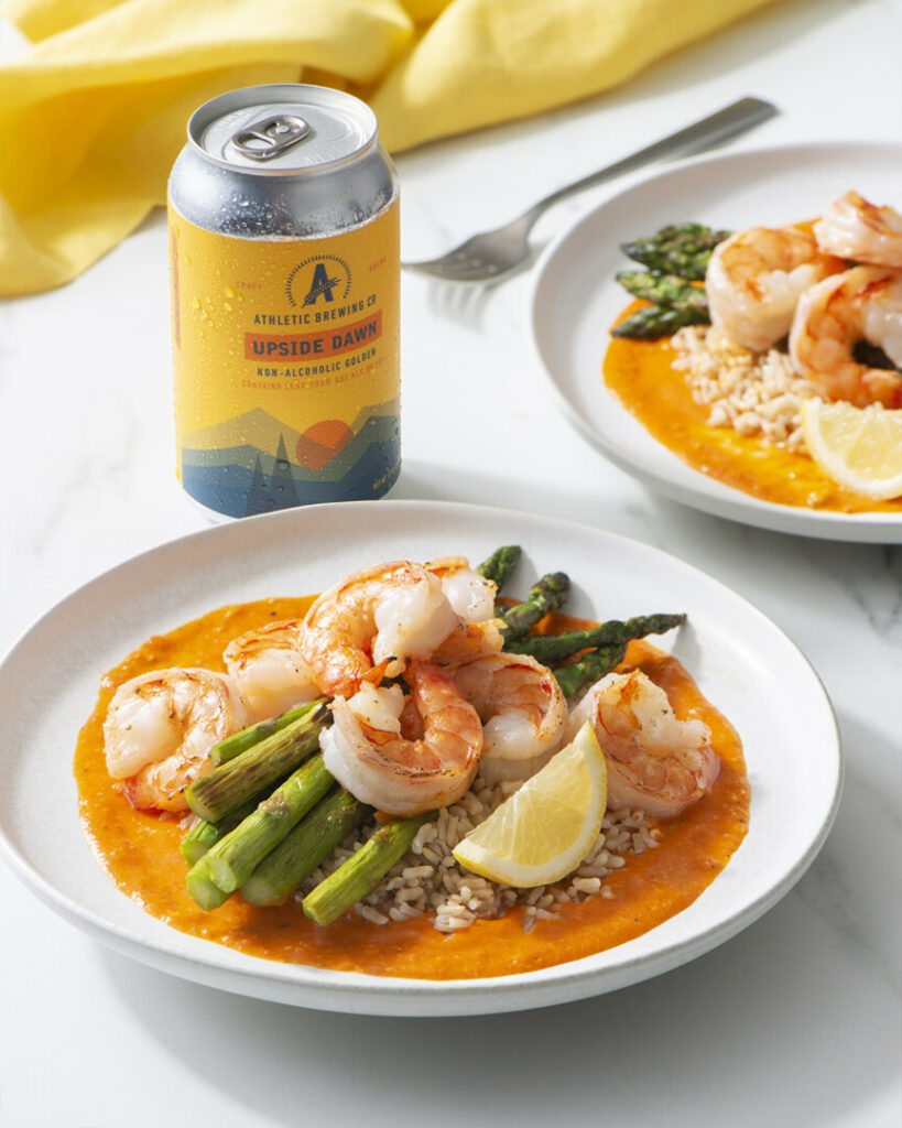 Oven-Roasted Shrimp And Asparagus With Romesco Sauce